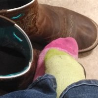 Mismatched well worn sweaty sock…