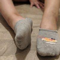 Worn socks with design