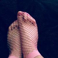 Worn Pink Fishnet Ankle Socks