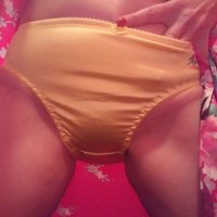 Sexy Slippery Worn Yellow Satin …